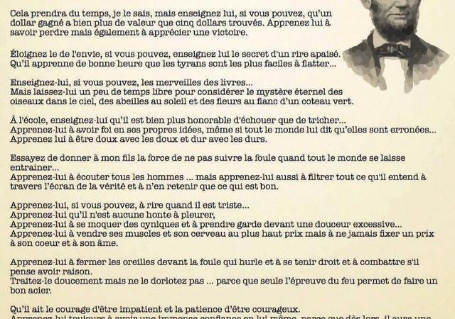 A méditer, surtout pour nous Sénégalais: La lettre d'Abraham Lincoln au professeur de son fils