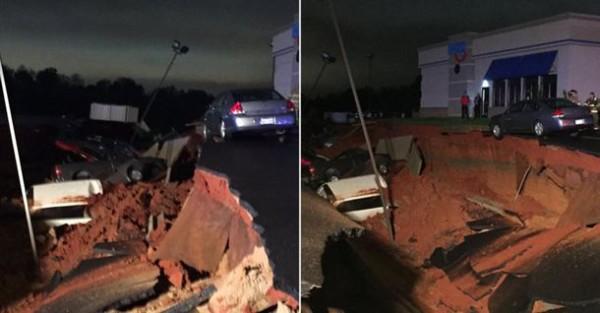Insolite  Un gouffre géant avale des voitures dans un parc de stationnement du Mississippi