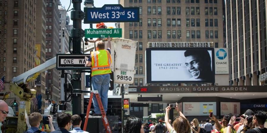 Une rue près de Madison Square Garden porte provisoirement le nom  Muhammad  Ali
