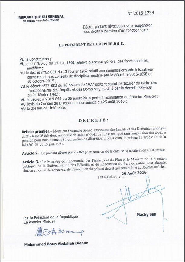 Lettre de radiation Ousmane Sonko