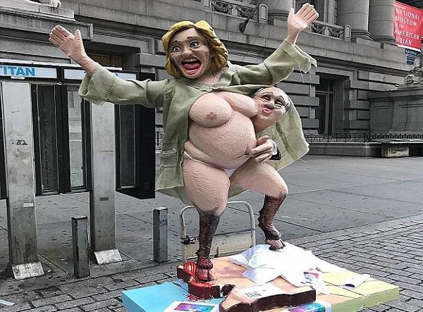 Etats-Unis Moments de tension autour d'une statue presque nue de Hilary, après celles de Trump