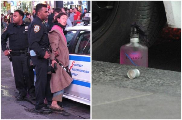 New-York Questions autour d'une femme arrêtée tentant d'allumer un cocktail Molotov