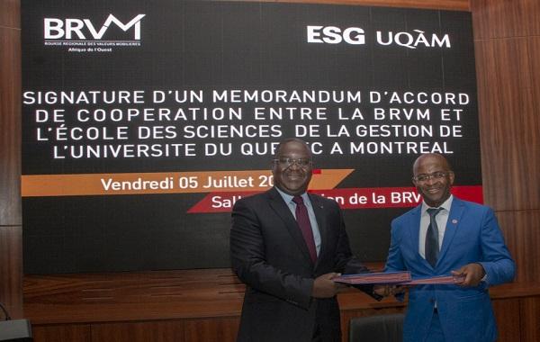 Formation des acteurs du Marche Financier Régional de l'UEMOA : la BRVM et l'ESG UQAM signent un mémorandum d'accord de coopération