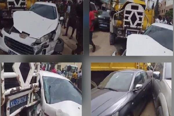 Impressionnant carambolage : un camion fou fait d'énormes ravages à la Sicap Liberté 6